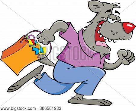 Cartoon Illustration Of A Werewolf Running While Holding A Trick Or Treat Bag.