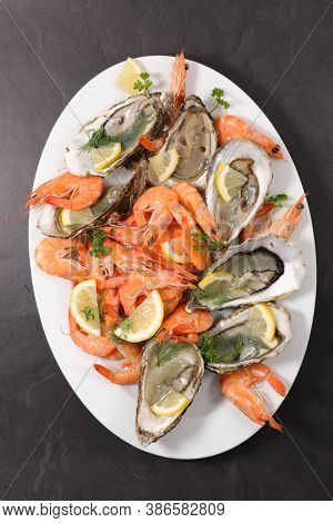 seafood platter- shrimp and oyster