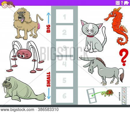 Cartoon Illustration Of Educational Task Of Finding The Biggest And The Smallest Animal Species With