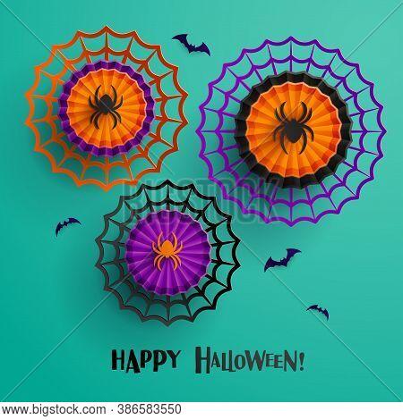 Paper Graphic Of Halloween Decoration Design. Halloween Spider And Spiderweb.