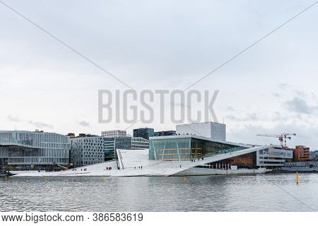 Oslo, Norway - August 10, 2019: Exterior View Of Opera House In Oslo. New Modern Building Designed B
