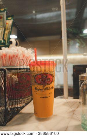Bangkok, Thailand - September 23, 2020 : Iced Thai Milk Tea From The Famous Of Thai Tea Branding Cha