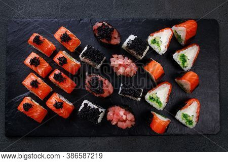 Seafood Delicatessen Various Sushi Rolls On Plate. Gourmet Snacks. Luxury Lifestyle, Japanese Food A