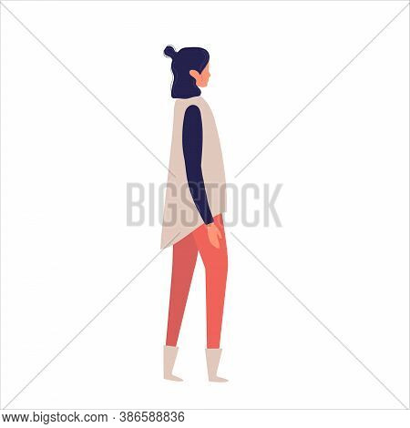 Side View Of A Woman Walking Forward. Vector Illustration. Woman While Walking. Vector Illustration