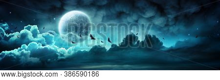 Halloween Night - Spooky Moon In Cloudy Sky With Bats - Contain 3d Illustration
