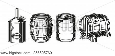 Brewery Vintage Monochrome Concept With Brewing Machine Metal Keg And Wooden Casks Of Beer Isolated
