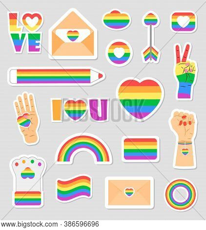 Lgbtq Community Set Vectors. Icons Of Pride Flags, Rainbow Colored Pencil, Heart, Hand Are Shown. Pr
