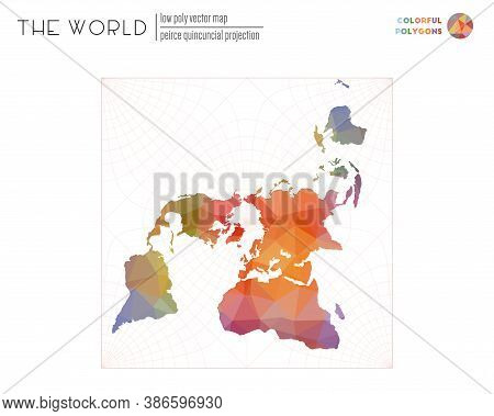 Vector Map Of The World. Peirce Quincuncial Projection Of The World. Colorful Colored Polygons. Styl