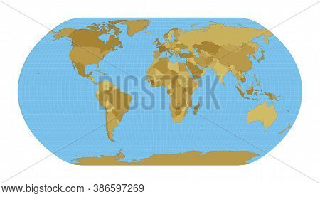 World Map. Natural Earth Projection. Map Of The World With Meridians On Blue Background. Vector Illu