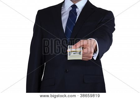 Businessman gives the money