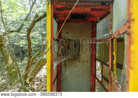 Abandoned Phonebox In Ghost Town Pripyat Chornobyl Zone
