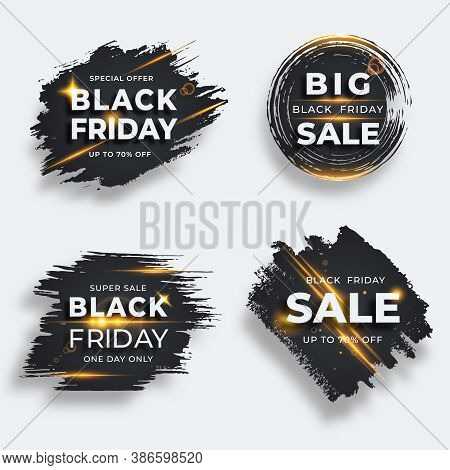 Set Of Four Black Brush Strokes With Flare. Black Friday Sale Templates. Grunge Abstract Black Rough
