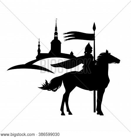 Knight Guard With Spear Riding Horse With Ancient City In The Background - Medieval Fantasy Hero Bla