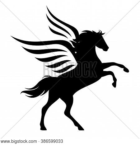 Pegasus Horse Rearing Up - Mythical Winged Stallion Black And White Vector Silhouette Design