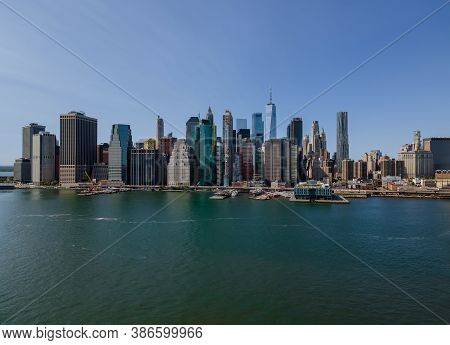 Aerial View Of New York City Panorama With Manhattan Skyline Office Buildings Ny U.s.