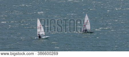 Portland Harbour, United Kingdom - July 3, 2020: High Angle Aerial Panoramic Shot Of Two Laser Class
