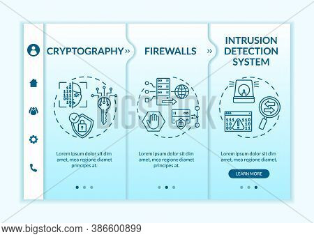 Network Security Onboarding Vector Template. Cryptography. Firewalls. Intrusion Detection System. Re