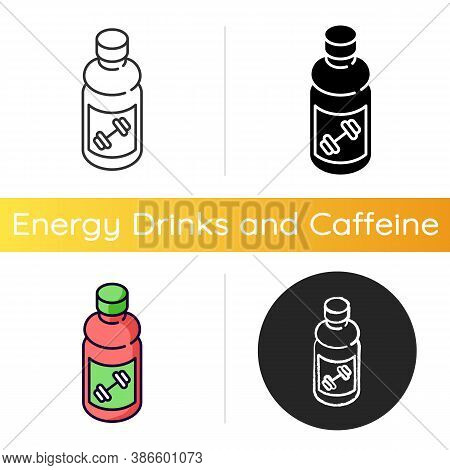 Sports Drink Icon. Bottled Protein. Beverage For Workout Energy. Product For Athlete. Energetic Nour