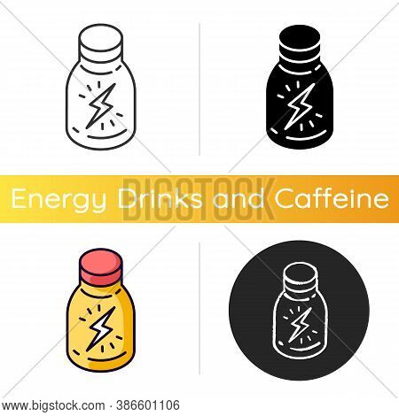 Energy Shot Icon. Caffeinated Beverage. Drink For Stamina. Booze In Glass Bottle. Product To Boost V