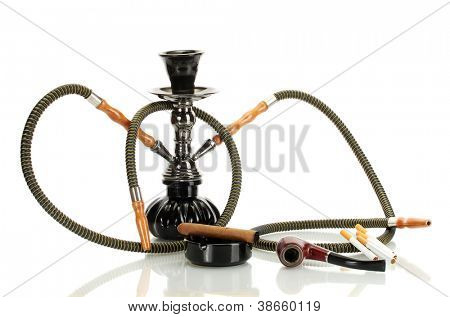 Smoking tools - a hookah, cigar, cigarette and pipe isolated on white background poster
