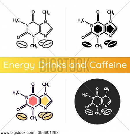 Caffeine Icon. Scientific Compound For Caffeinated Drink. Coffee Bean Supplement Formula. Atomic Bon