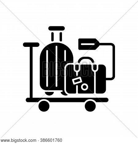 Baggage Car Black Glyph Icon. Railway Transportation, Train Service. Holiday Trip, Vacation Silhouet