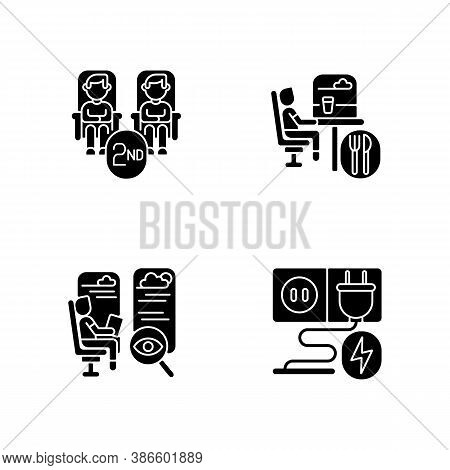 Economy Class Train Services Black Glyph Icons Set On White Space. Second Class Seats, Charging Sock