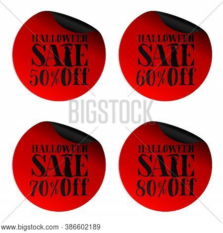 Red Halloween Sale Stickers Set With Scytheman 50, 60, 70, 80 Percent Off. Vector Illustration