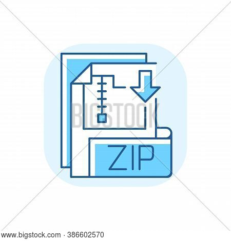 Zip File Blue Rgb Color Icon. Lossless-compression Binary File Format. Encryption, Packaging, File M