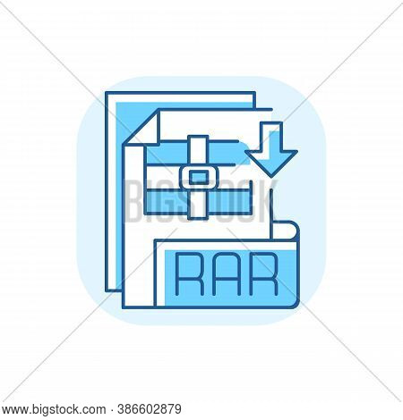 Rar File Blue Rgb Color Icon. Archive File Format. Data Compression. Error Recovery. File Spanning.