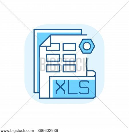 Xls File Blue Rgb Color Icon. Binary File Format. Spreadsheet Programs. Workbook Files. Xlsx Extensi