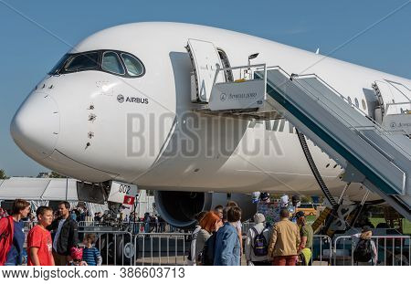 August 30, 2019. Zhukovsky, Russia. Long-range Wide-body Twin-engine Passenger Aircraft Airbus A350-