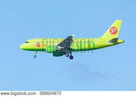 Pulkovo Airport Near Saint Petersburg/ Russia - September 19 2020: Airplane Of S7 Airlines Company W