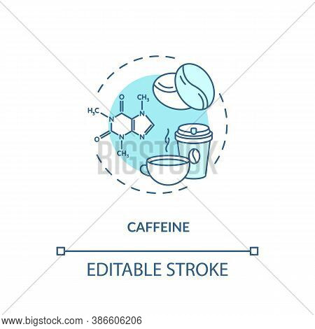 Caffeine Concept Icon. High Caffeine Energy Drinks Idea Thin Line Illustration. Coffee Cup. Central