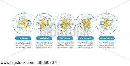 Excessive Sugar Intake Vector Infographic Template. Obesity, Heart Disturbance Presentation Design E