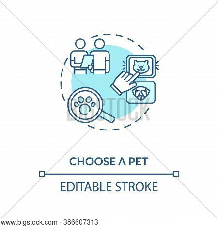 Choose A Pet Concept Icon. Grooming Salon Services App. Choosing Variety. Animals Helping Adoption C