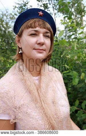 Woman Posing In Military Beret
