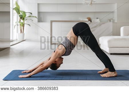 Fit Young Woman Practicing Yoga At Home, Doing Downward Facing Dog Or Adho Mukha Svanasana Pose. Spo