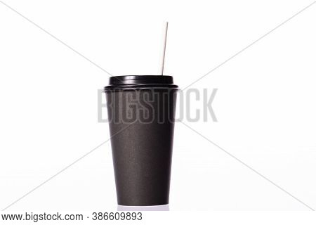 Disposable Black Coffee Cup With Paper Straw Isolated On White Background. Coffee To Go, Takeaway Ho