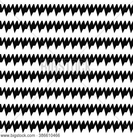 Seamless Horizontal Sharp Edges Lines Pattern. Repeated Black Jagged Stripes On White Background. Wa