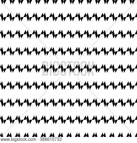 Seamless Horizontal Jagged Striped Pattern. Repeated Black Angular Lines On White Background. Sharp
