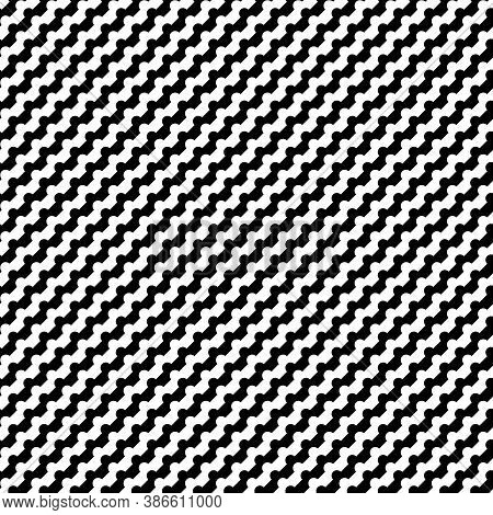 Seamless Diagonal Wavy Striped Pattern. Repeated Black Counter Embattled Lines On White Background.