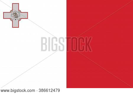National Malta Flag, Official Colors And Proportion Correctly. National  Malta Flag. Vector Illustra