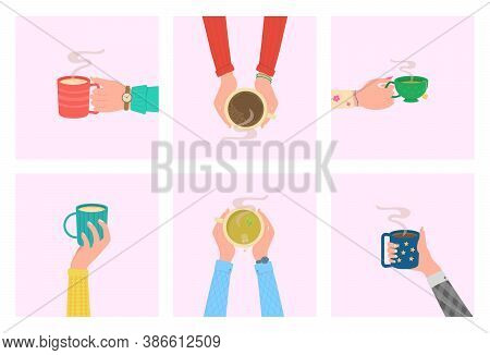 Human Hands With Tea Mug Cup. Coffee Time, Coffee Break Concept. Human Hands Holding Cups Or Mugs Wi