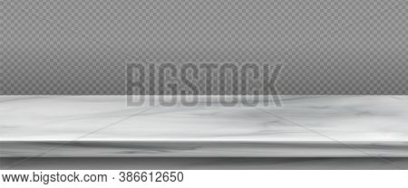 White Marble Table Top, Stone Display Stand. Vector Realistic Mockup Of Empty Shelf, Kitchen Counter