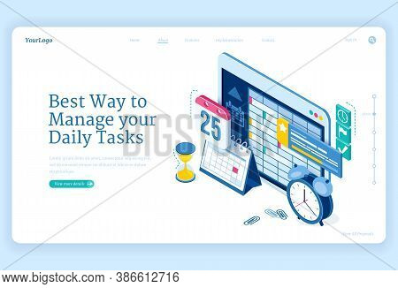 Daily Tasks Management Banner. Software And Strategies For Productive Planning Work Or Education. Ve