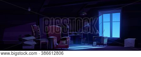 House Attic At Night, Storage Of Old Furniture Under Roof Of Residential Building. Vector Cartoon In