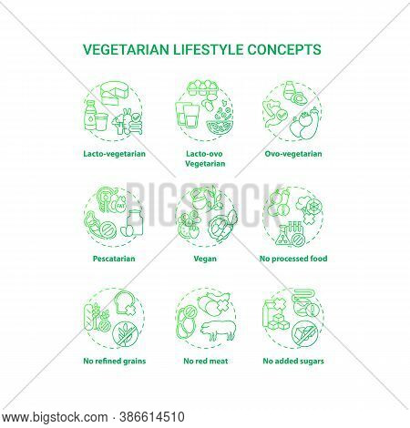 Vegetarian Lifestyle Concept Icons Set. No Added Sugars. Lacto Ovo Vegetarian Eating Plan. Types Of