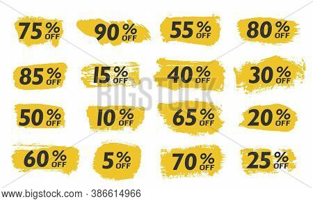Set Sale Tags Set Icons Template, 10 Discount, 20, 90, 80, 30, 40, 50, 60, 70 Percent Off Sale Label