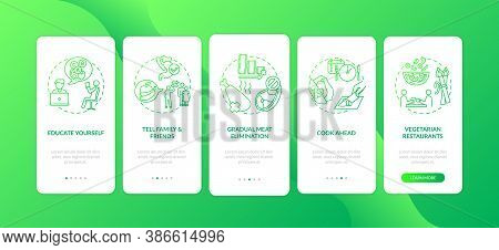 Becoming A Vegetarian Tips Onboarding Mobile App Page Screen With Concepts. Vegeterian Life Ideas Wa